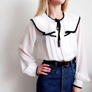 80s Vintage White Pleated Sailor Tie Neck Blouse